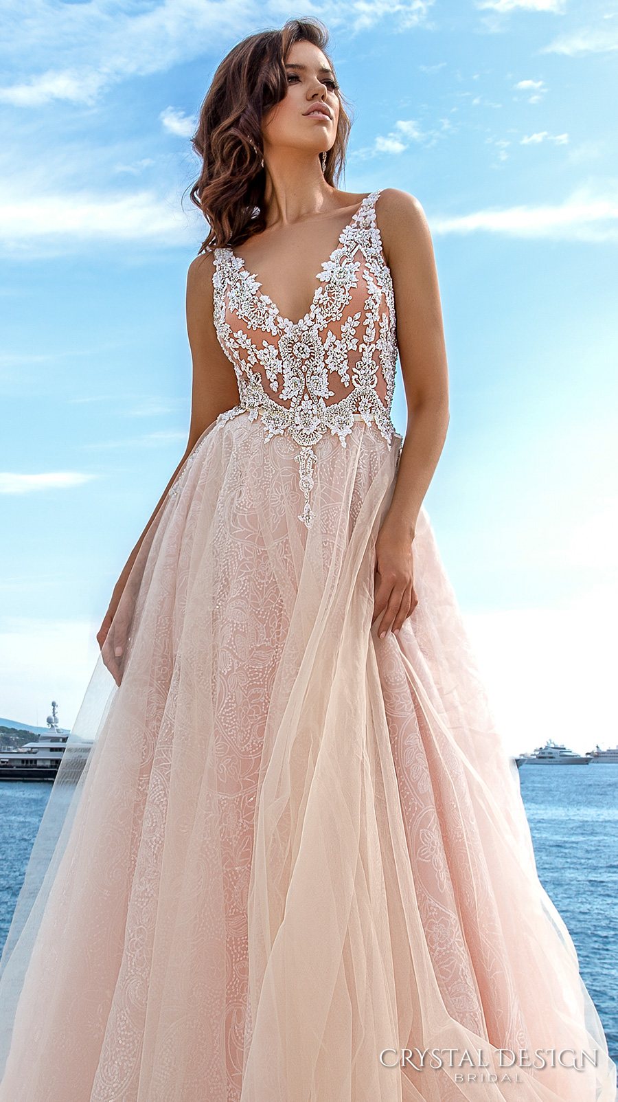 crystal-design-2017-bridal-sleeveless-v-neck-heavily-embellished-bodice-tulle-skirt-princess-romantic-blush-color-a-line-wedding-dress-low-back-long-royal-train-andrea-zv-